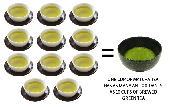 Một cốc trà matcha có chưa hàm lượng chất chống oxy hóa tương đương với 10 cốc trà thường. Ảnh: Matcha Source.